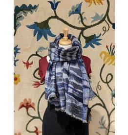 Sevya Kalya Cotton & Wool Shawl- Indigo weave