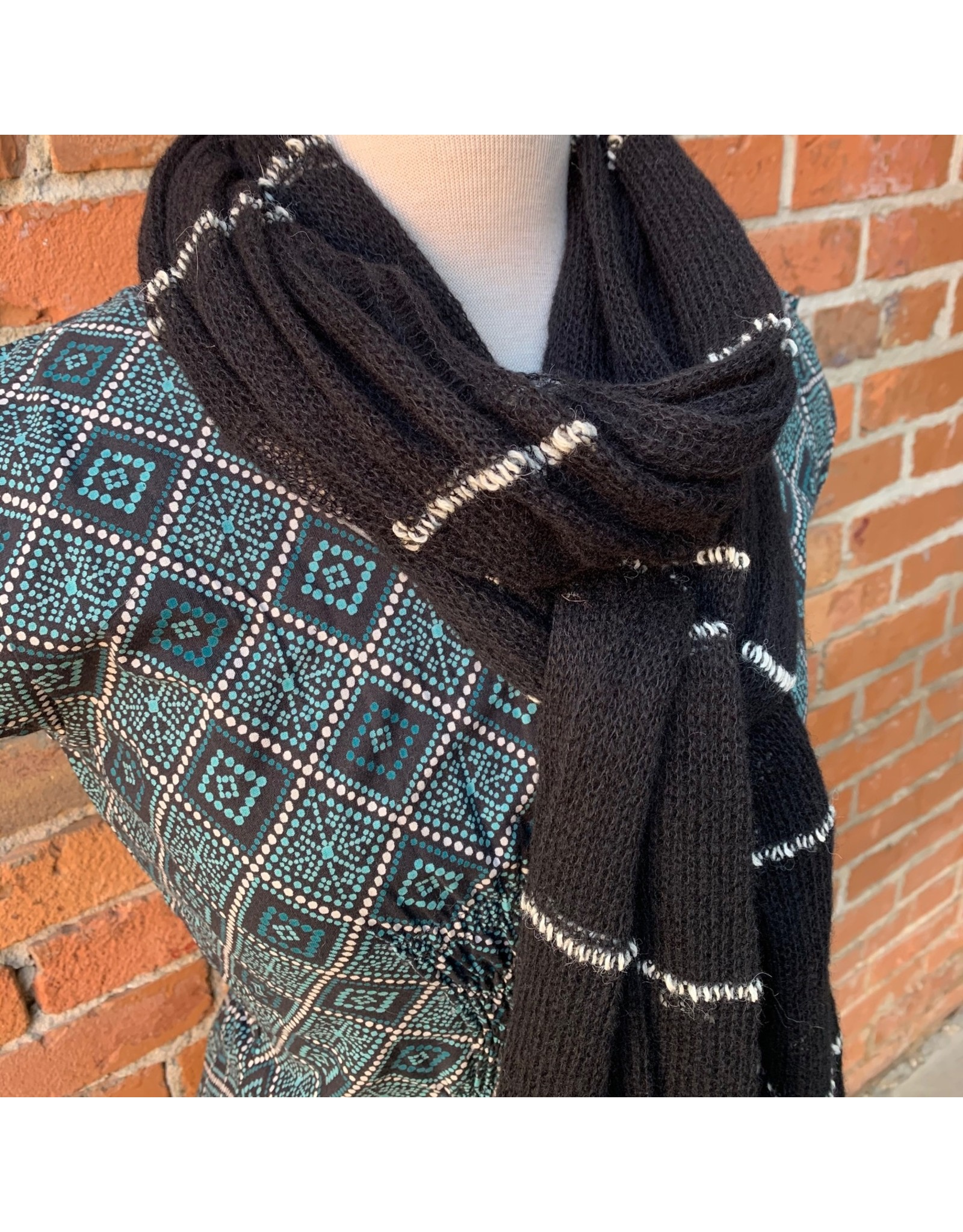 Ten Thousand Villages White Striped Black Scarf