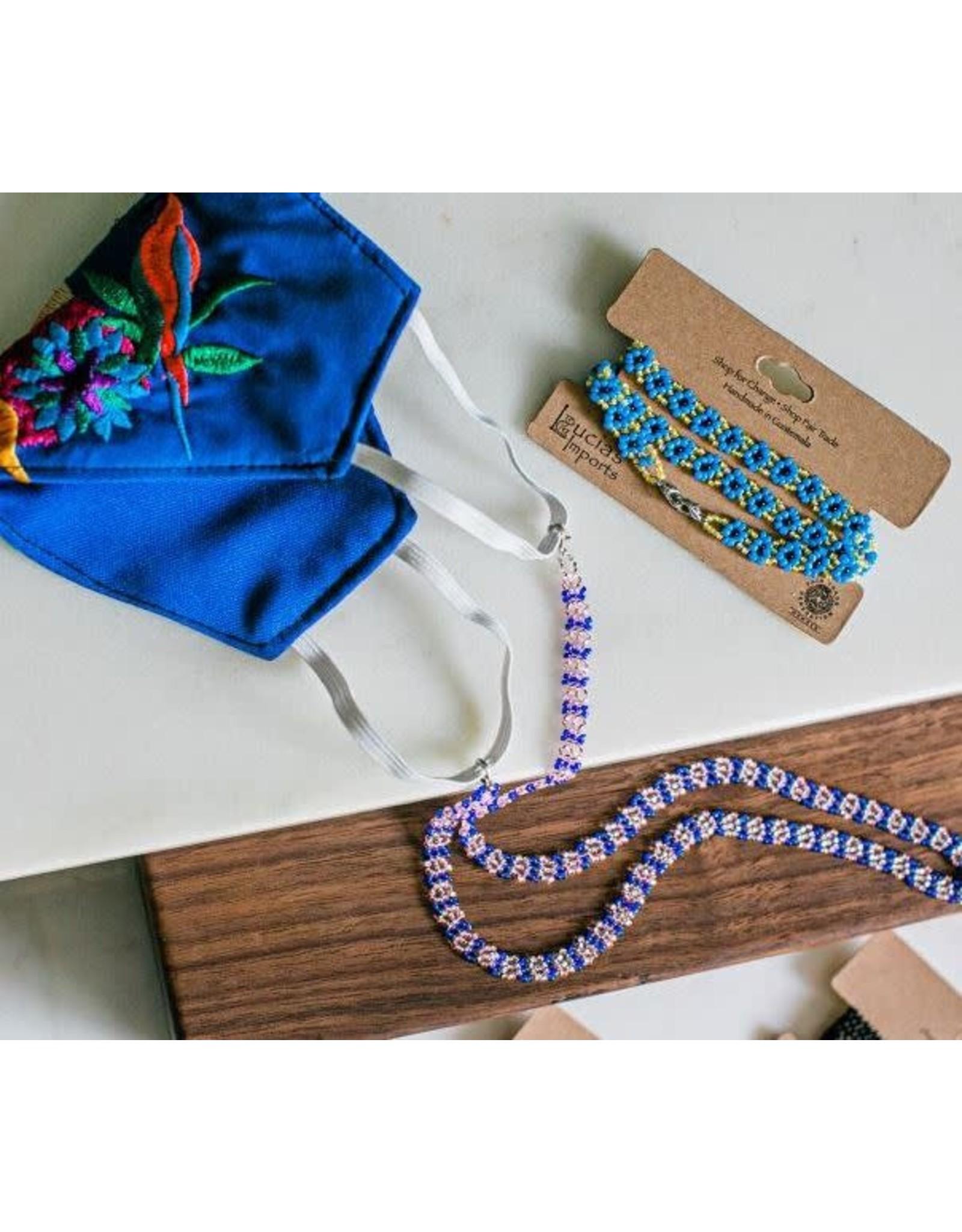 Lucia's Imports Beaded mask lanyard, Guatemala