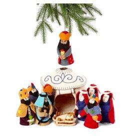 Silk Road Bazaar Yurt Felt Nativity Set