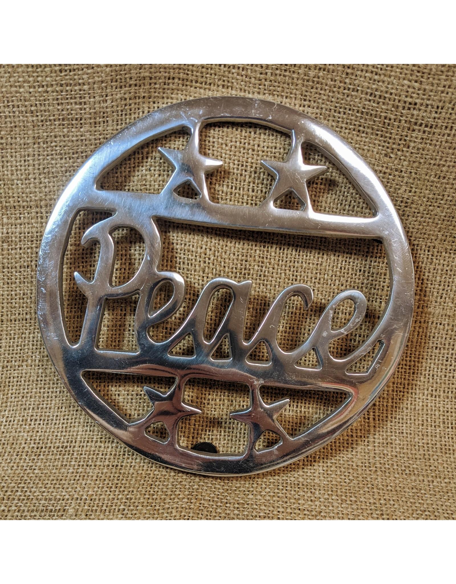 Ten Thousand Villages Silver PEACE Trivet
