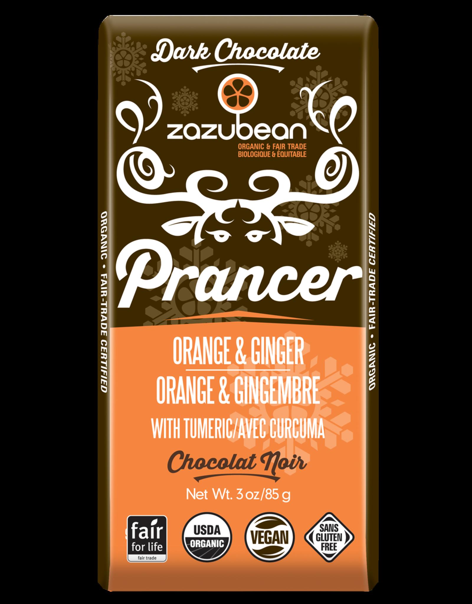 Zazubean Zazubean Prancer - Dark Choc Bar Orange & Ginger 85g
