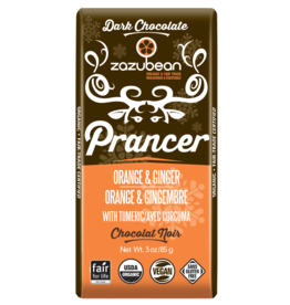 Zazubean Zazubean Prancer - Dark Choc Bar Orange & Ginger 85g