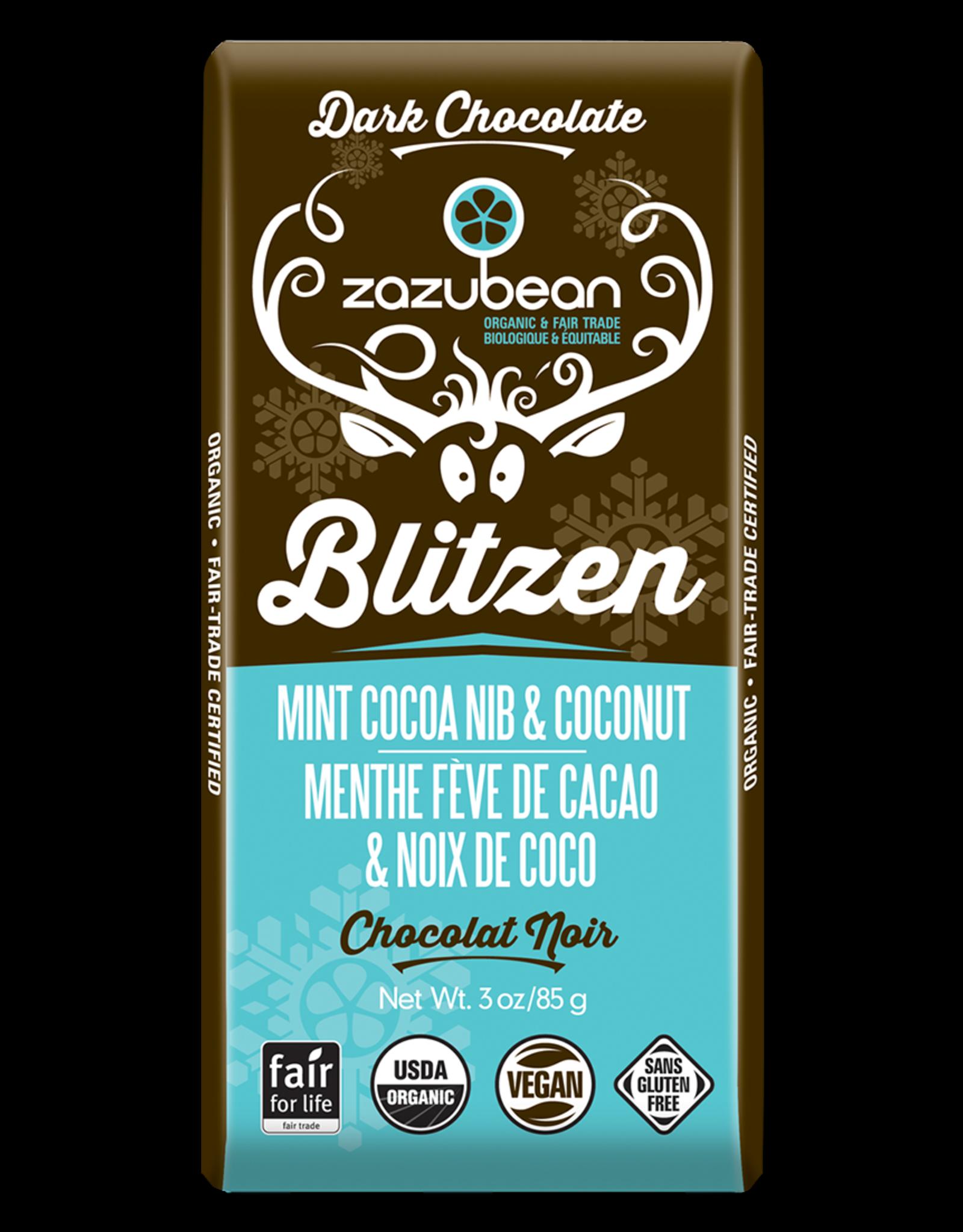 Zazubean Blitzen - Dark Choc Bar Mint Cocoa Nib & Coconut 85g