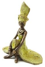 Swahili African Modern Graciously Waiting Lost Wax Sculpture, Burkina Faso