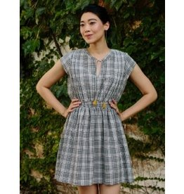 Smock Waist Dress, Black Plaid. India