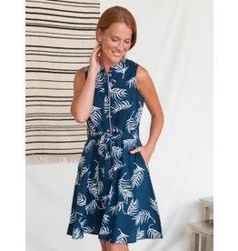 Monterey Dress, Navy Palms. India