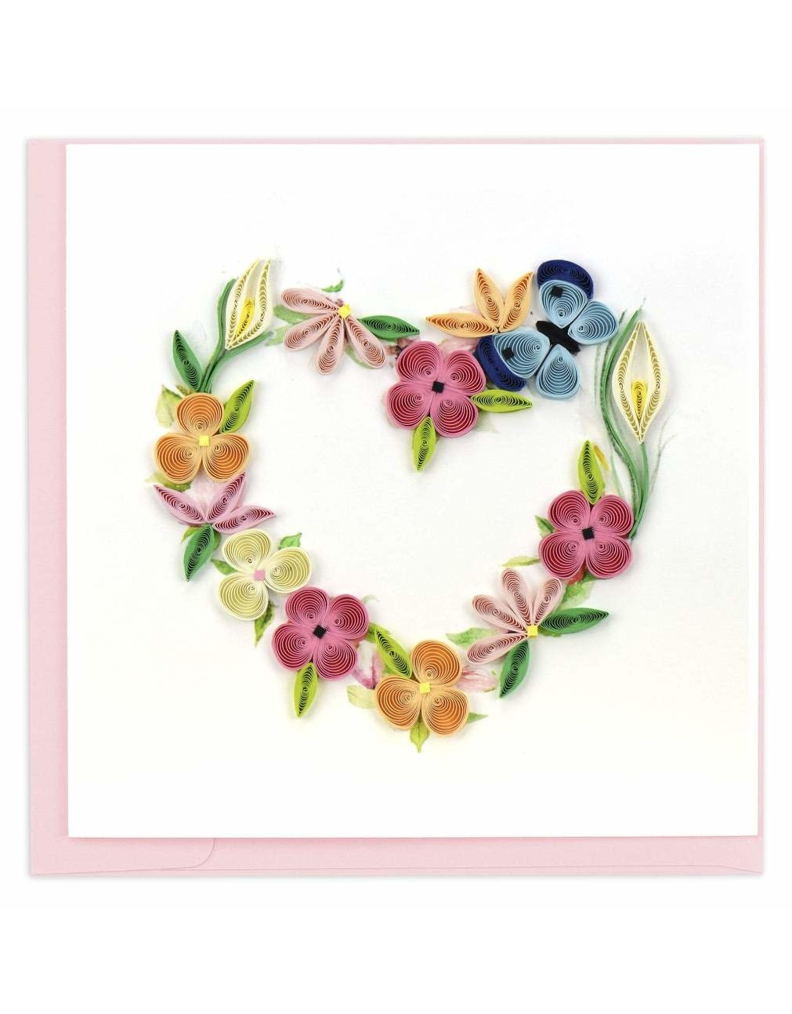 quillingcard Quilled Card, Floral Heart Wreath. Vietnam