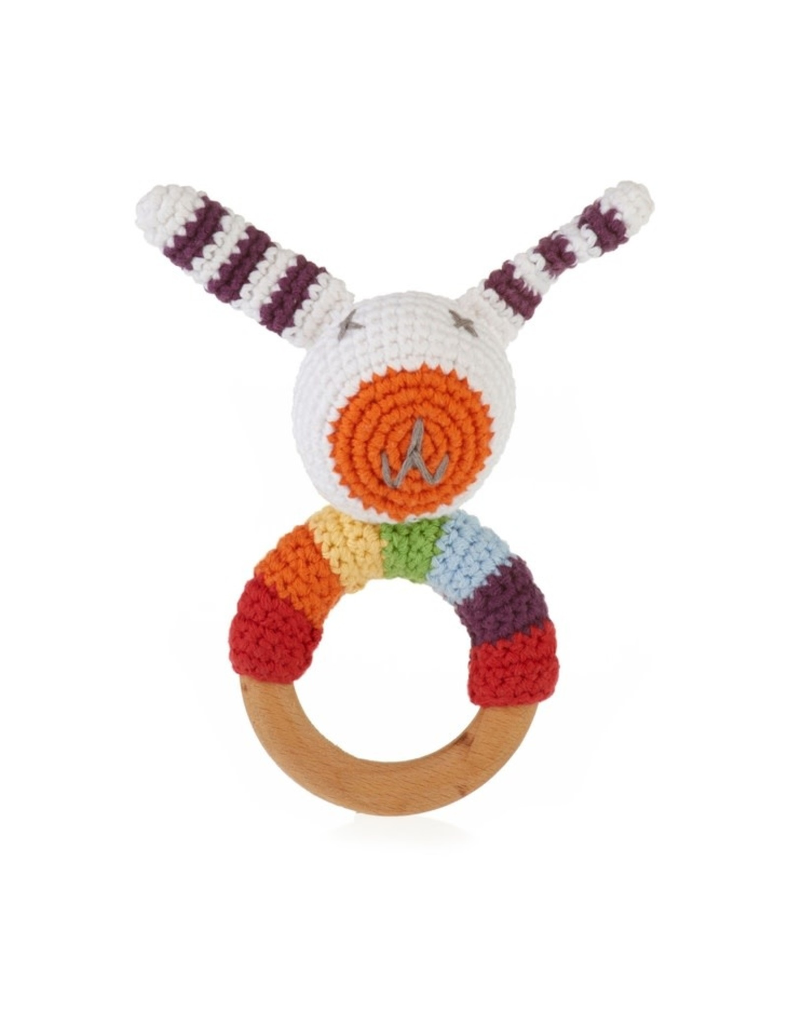 Pebble Rainbow Bunny Wooden Ring Rattle, Bangladesh