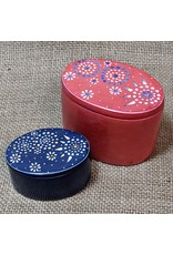 Ten Thousand Villages CLEARANCE Oval Mandala Kisii Stone Box, Blue. Kenya