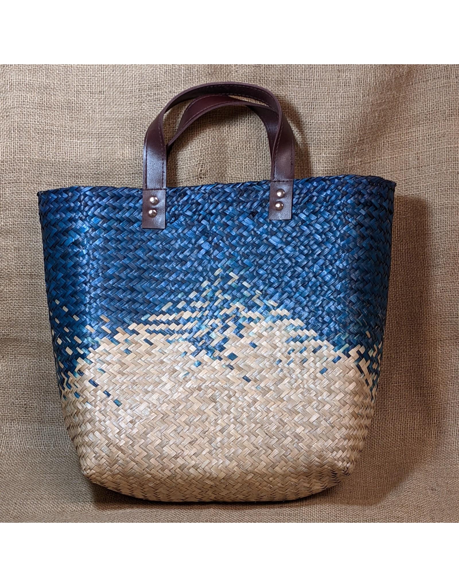 Ten Thousand Villages Navy Seagrass Bag