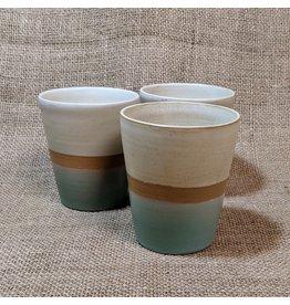 Ten Thousand Villages CLEARANCE  Sage & Cream Ceramic Cupping Mug, 8oz/240ml, Nepal
