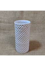 Ten Thousand Villages Textured White Ceramic Cylinder Vase