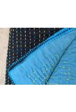 Ten Thousand Villages CLEARANCE Recycled Kantha Throw Black/Turquoise, Bangladesh