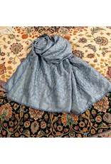 Ten Thousand Villages CLEARANCE Blue Silk Kantha Shawl, India