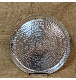 """Ten Thousand Villages CLEARANCE Round Aluminum Serving Tray, 11""""/28cm D, India"""
