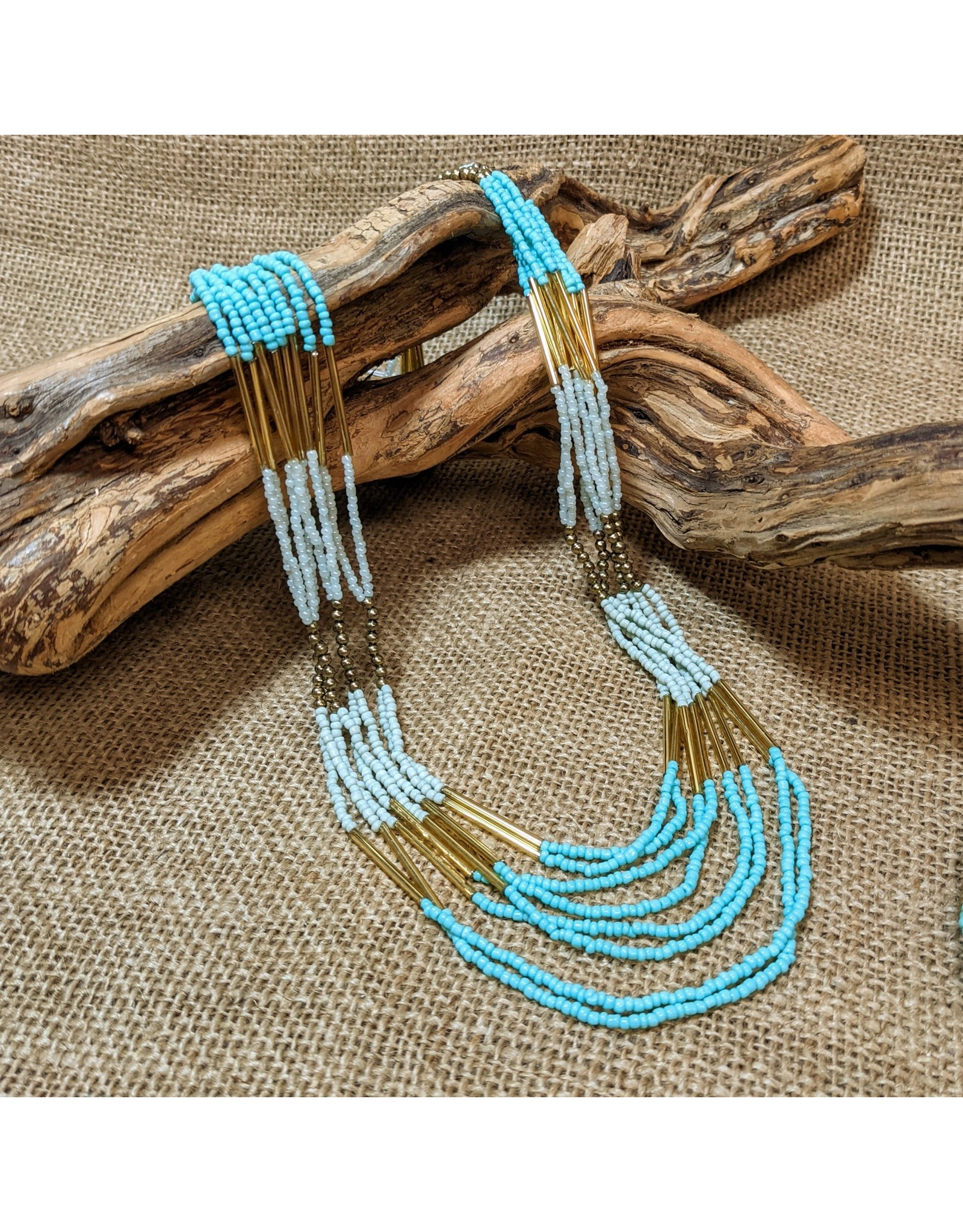 Ten Thousand Villages Stranded Teal Bead Necklace, India