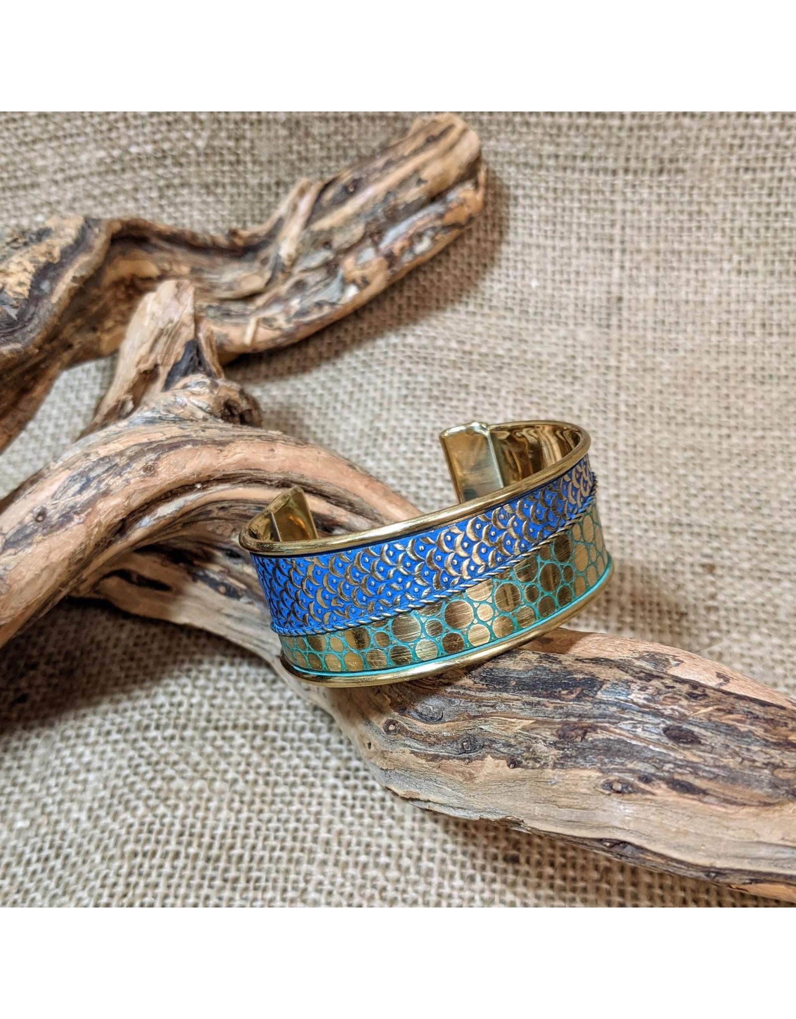 Ten Thousand Villages Turquoise Engraved Bracelet, India