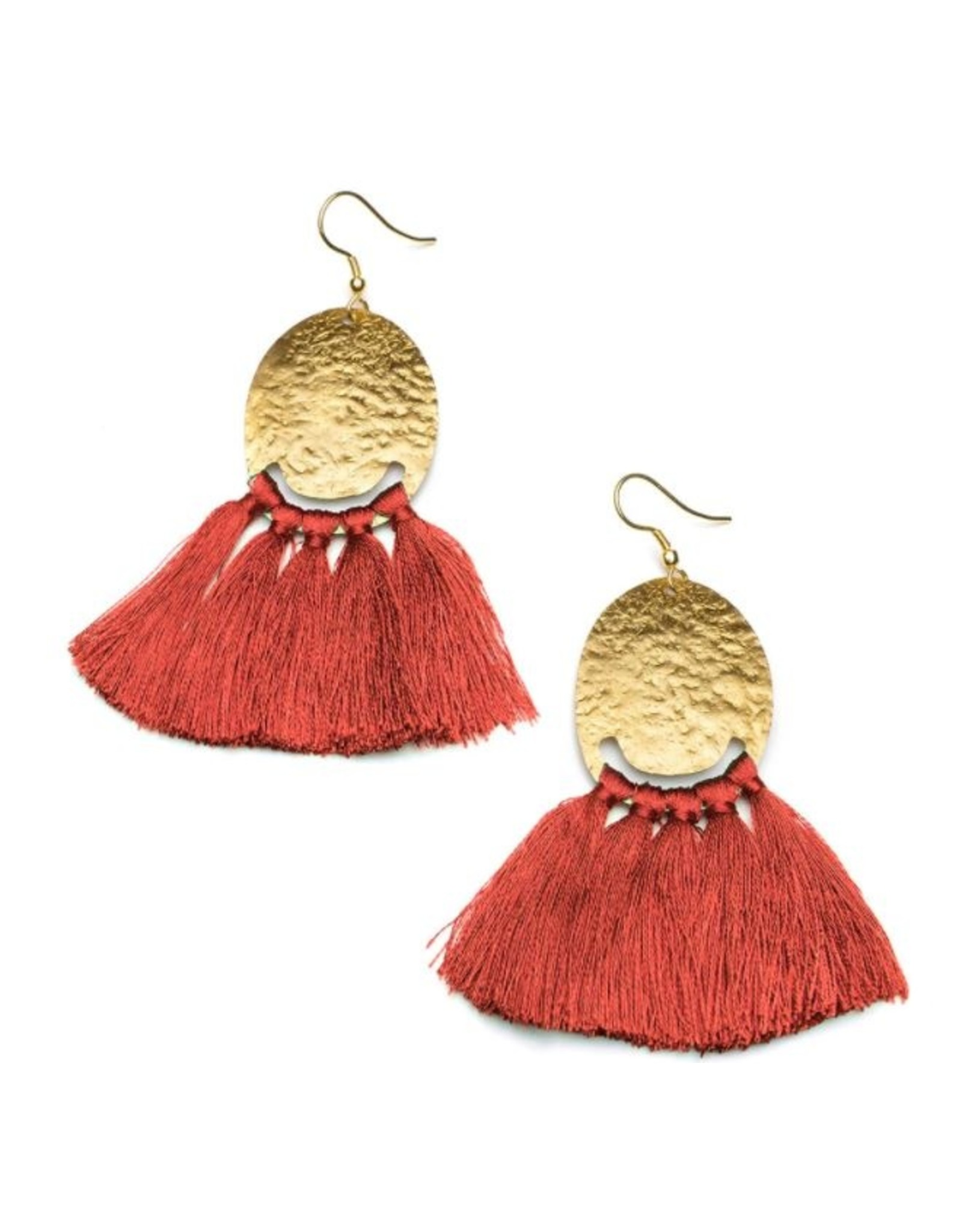 Matr Boomie Nihira Red Tassel Earrings, India