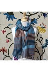 Sevya Samita Stripes Scarf, Blues. India