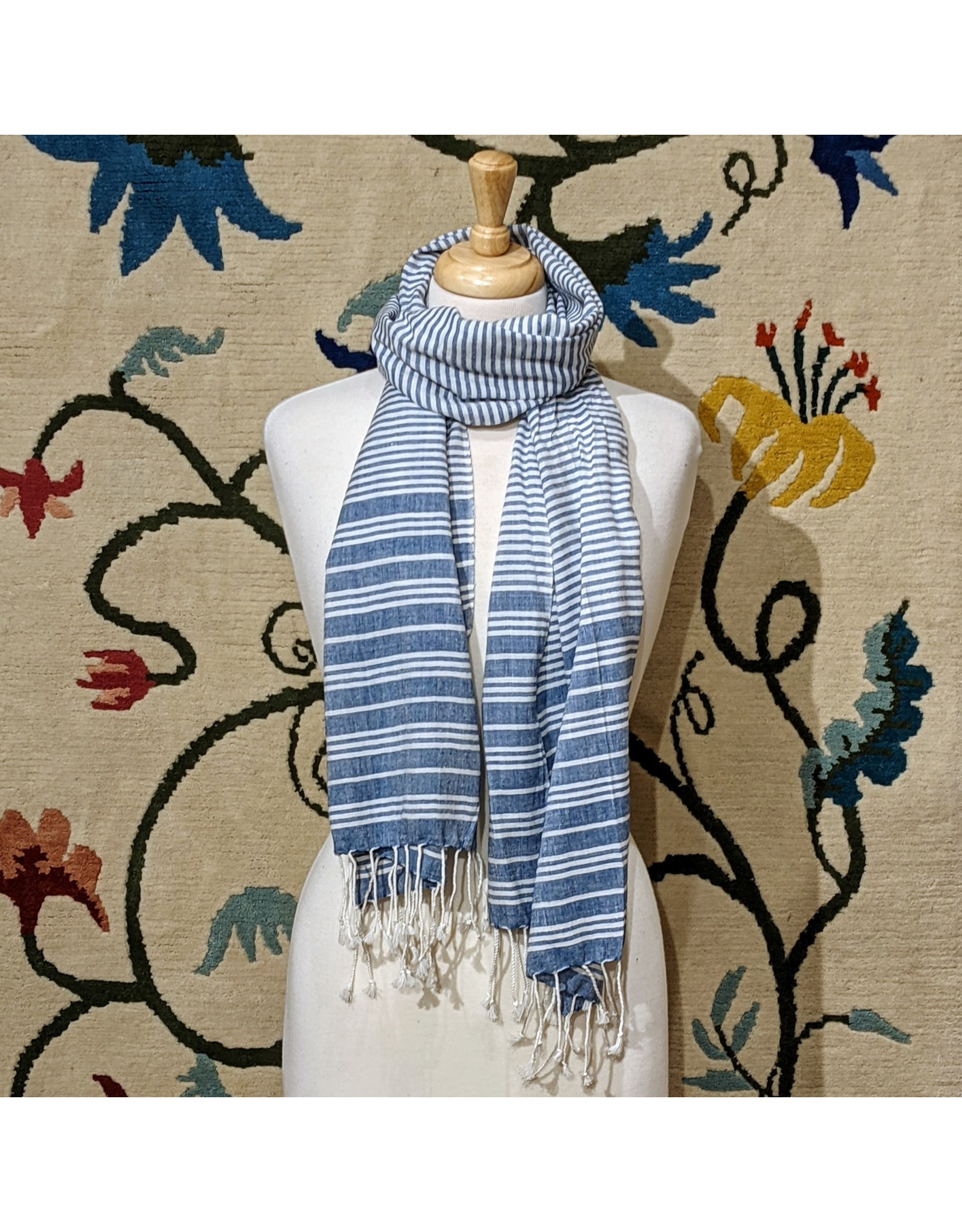Ten Thousand Villages Blue & White Lines Scarf