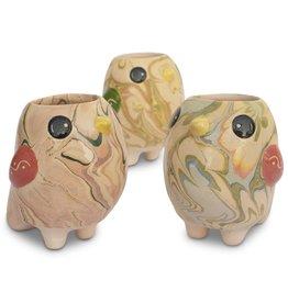 Lucuma Swirly Bird Mini Ceramic Pot, Peru