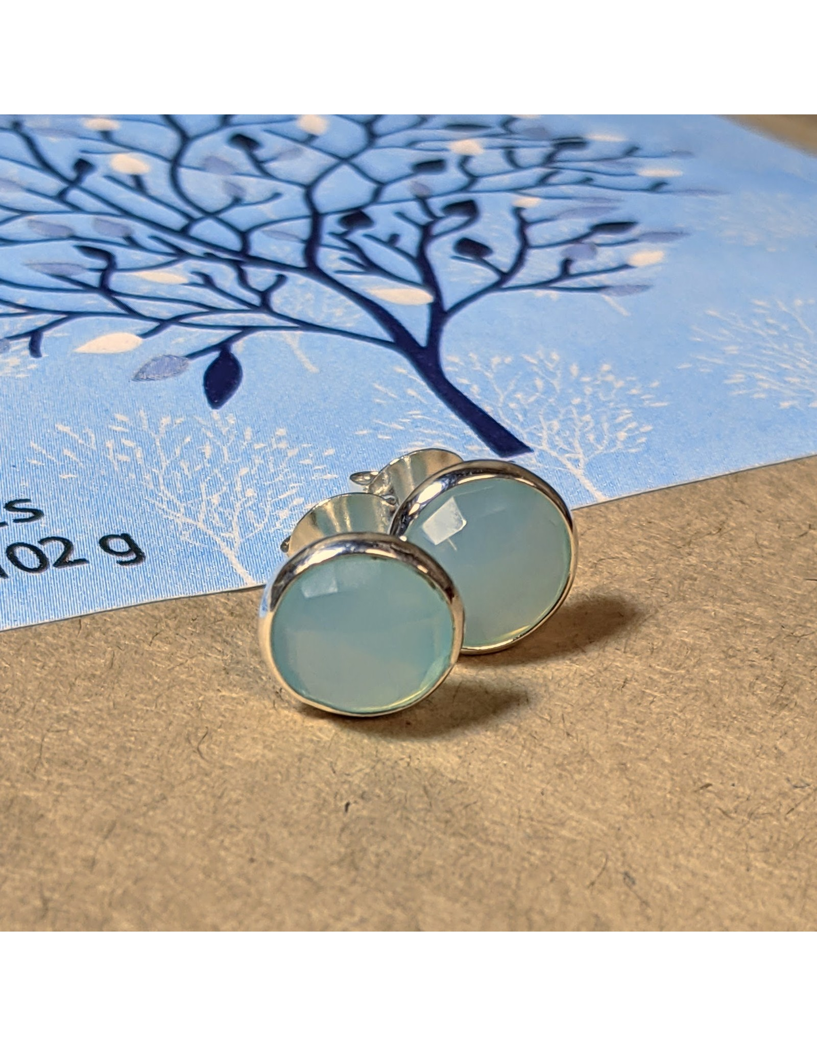 Ten Thousand Villages Faceted Chalcedony Studs, India