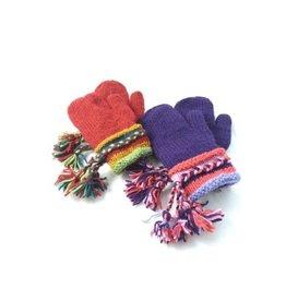Ganesh Himal Knit Wool Mitten w/ Braid Cuff, Assorted, Nepal