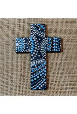 Ten Thousand Villages Blue Wooden Cross