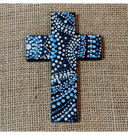Ten Thousand Villages Blue Wooden Cross