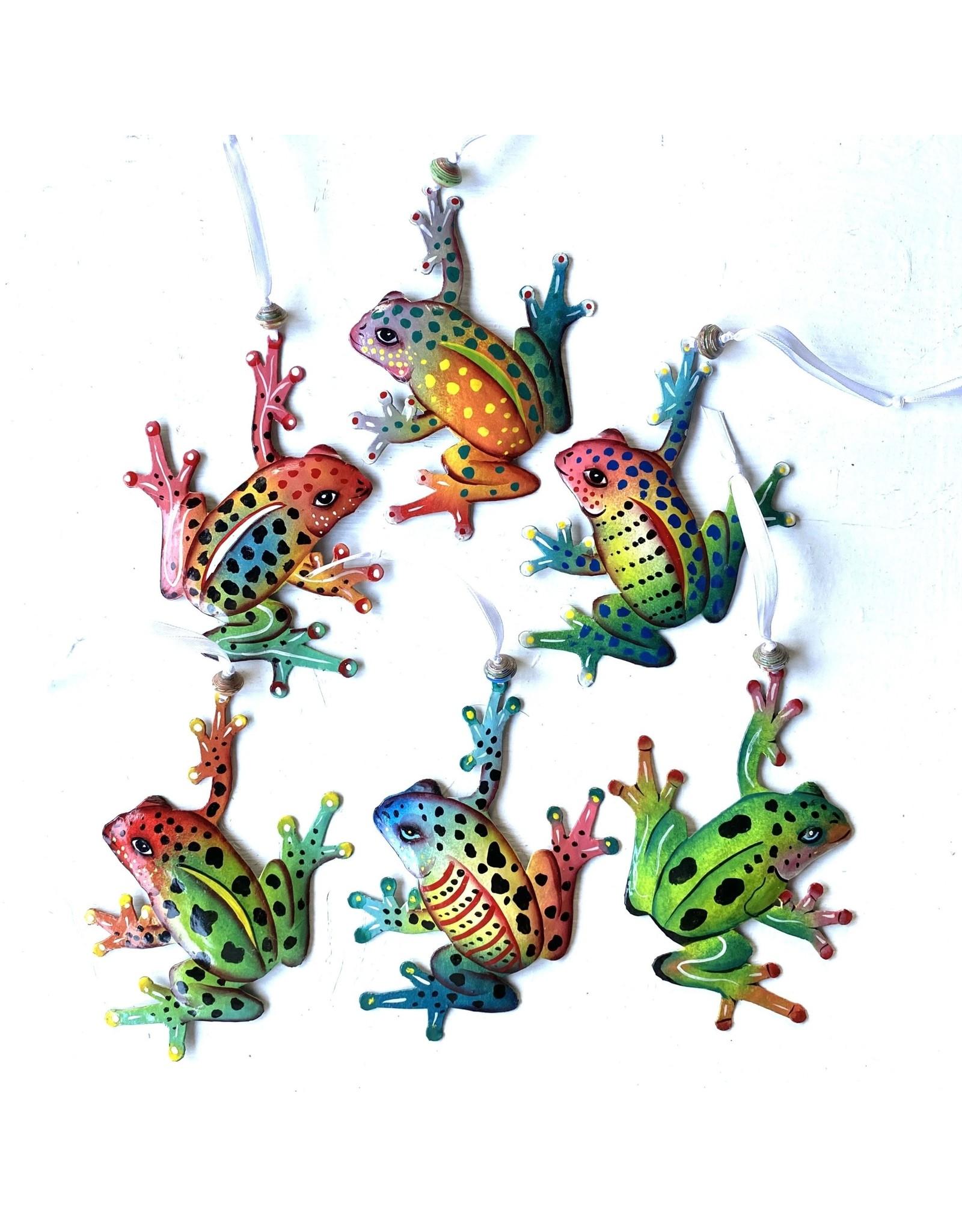 Papillon Painted metal Frog ornaments, asst, Haiti.
