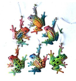 Papillon Painted Metal Frog ornaments, Assorted, Haiti