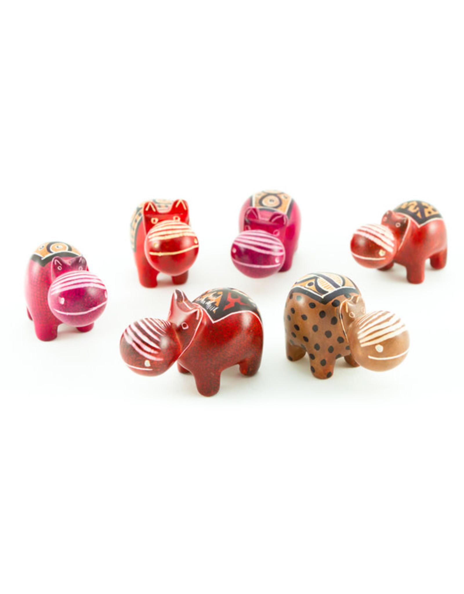 Swahili Wholesale Miniature Soapstone Hippos, Kenya.