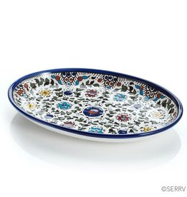 SERRV Blue West Bank Oval Tray, Palestine.