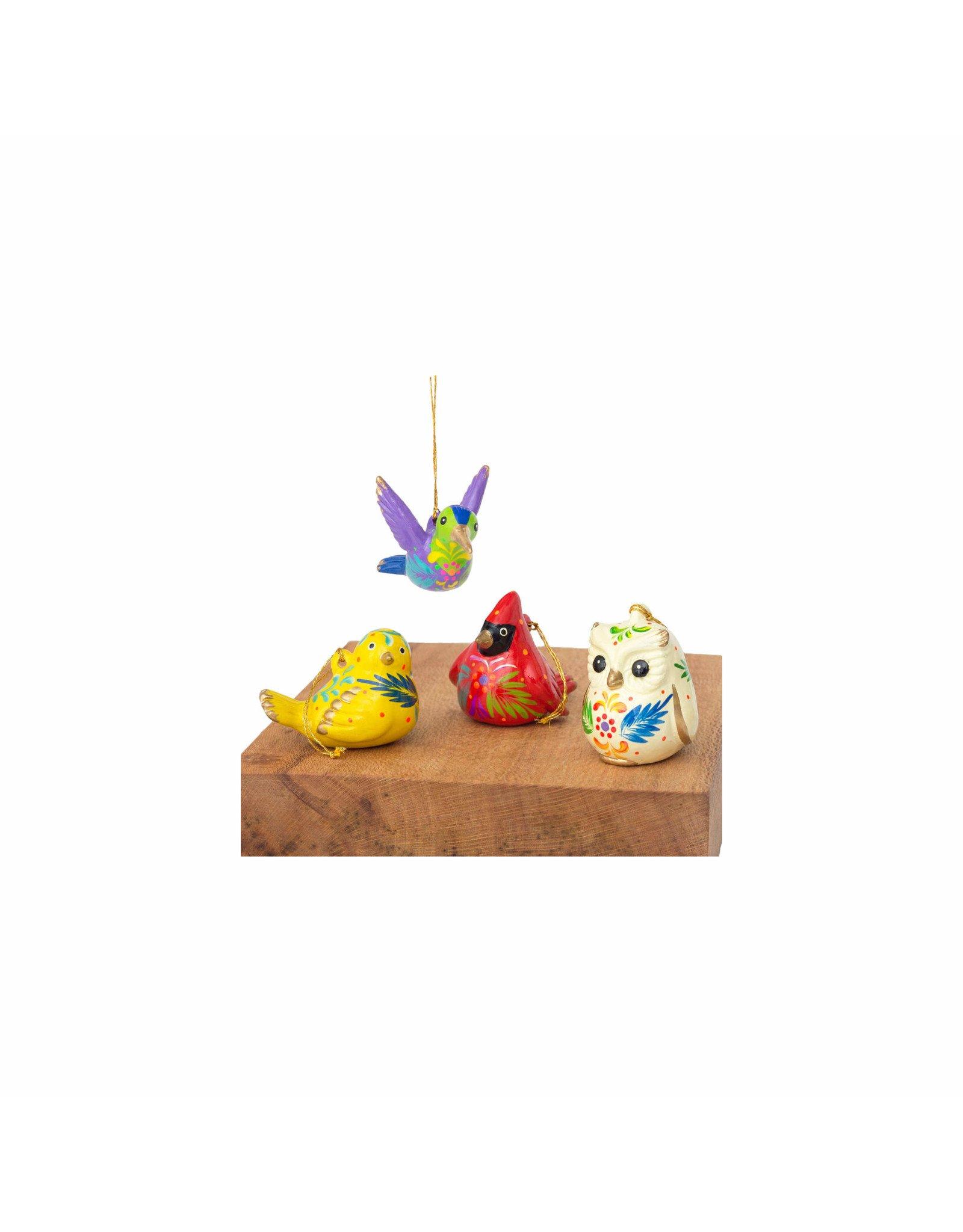 Lucuma Painted Ceramic Bird Ornament, Assorted, Peru