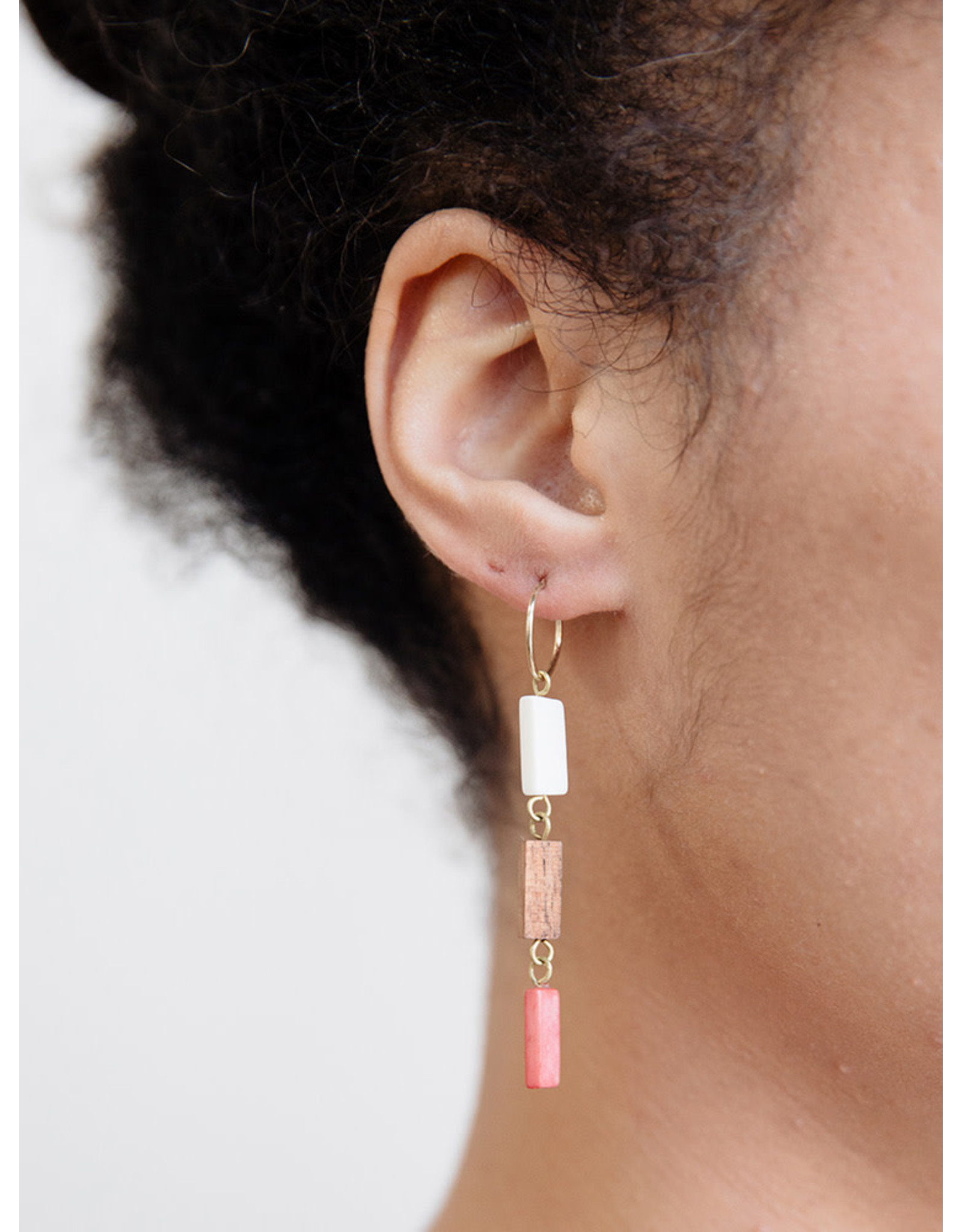 Trailing Hoop Earrings, Coral. India.