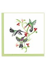 quillingcard Quilled Hummingbird Trio Card, Vietnam.
