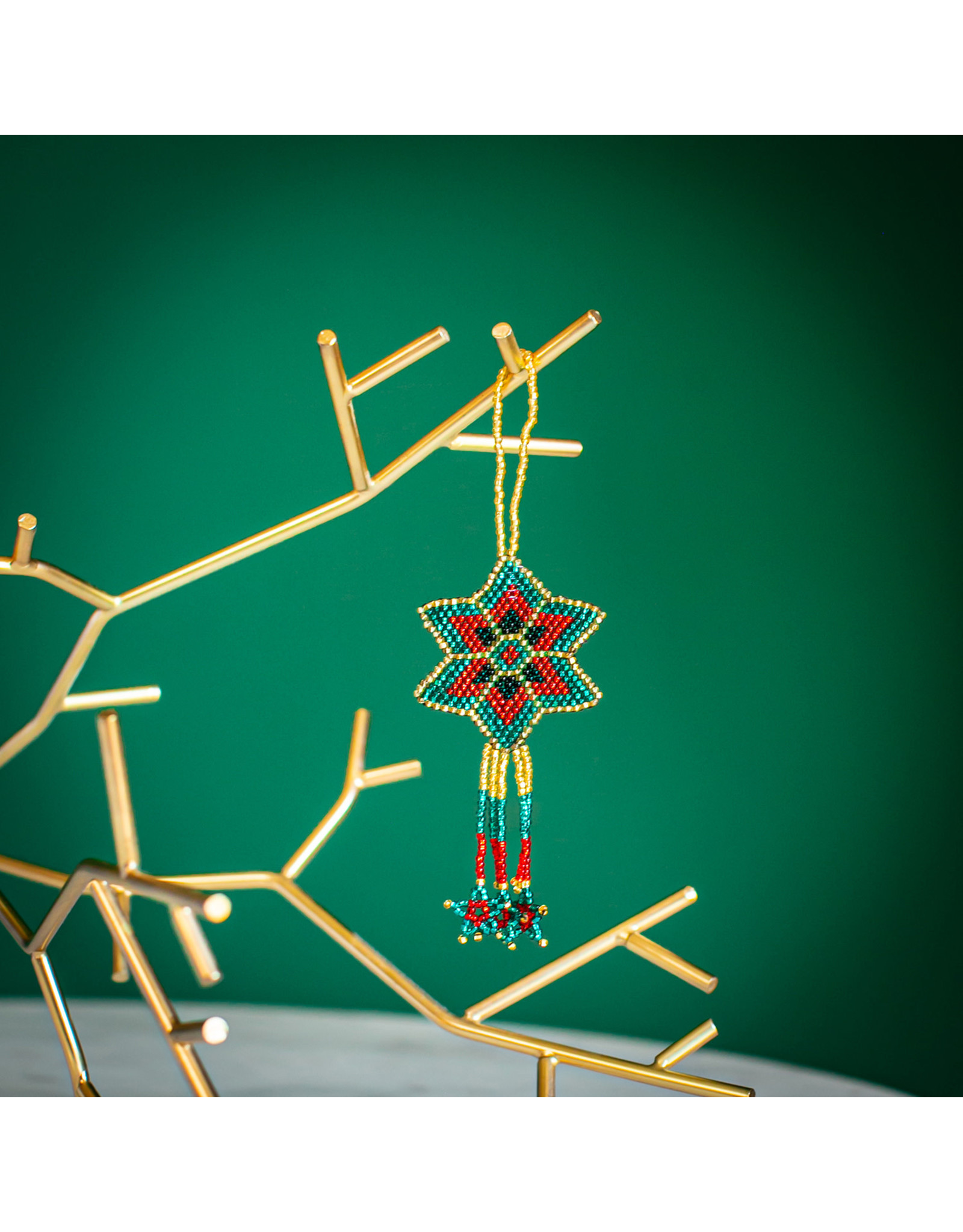 Lucia's Imports Beaded Star Ornament, Assorted, Guatemala