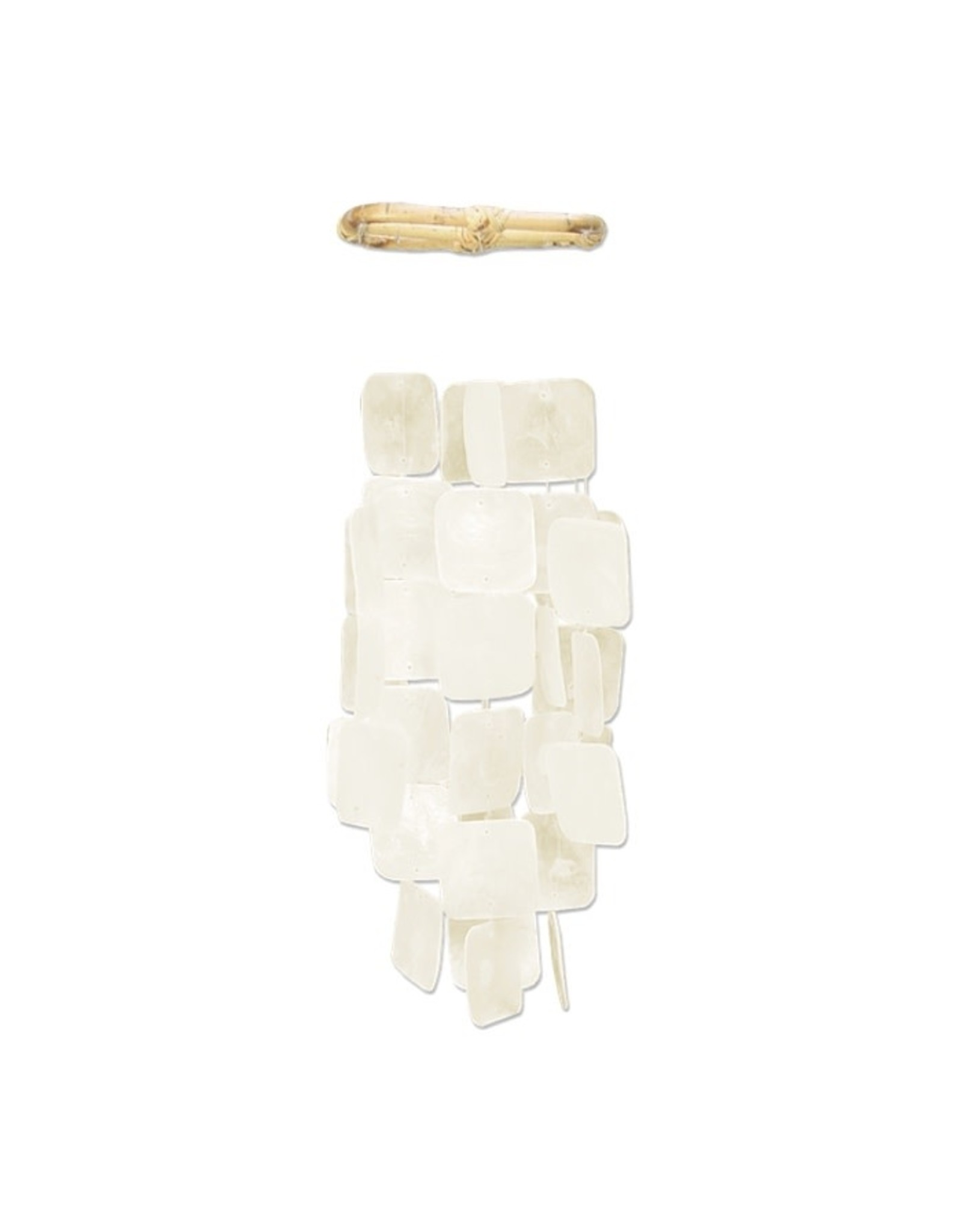 Fair Trade Winds Small Square Capiz Wind Chime, White. Indonesia