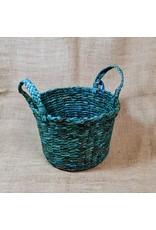 Paper Feathers Woven Newspaper Basket w/ handles, asst. Sri Lanka