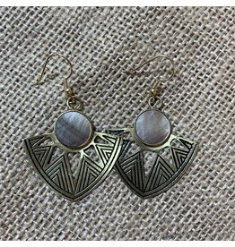 Astral Point Earrings, shell and brass, India