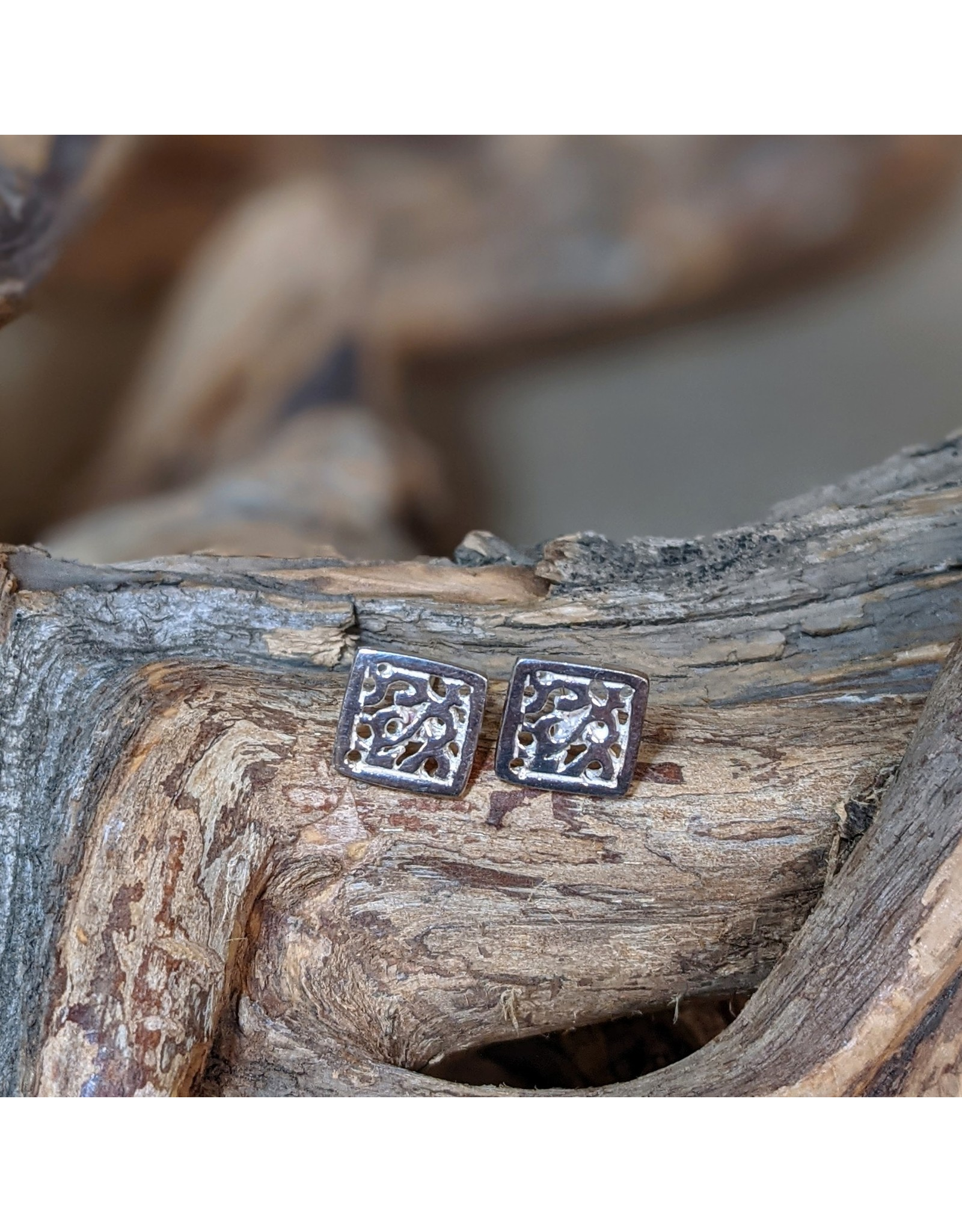 Ten Thousand Villages Square Filigree Stud Earrings