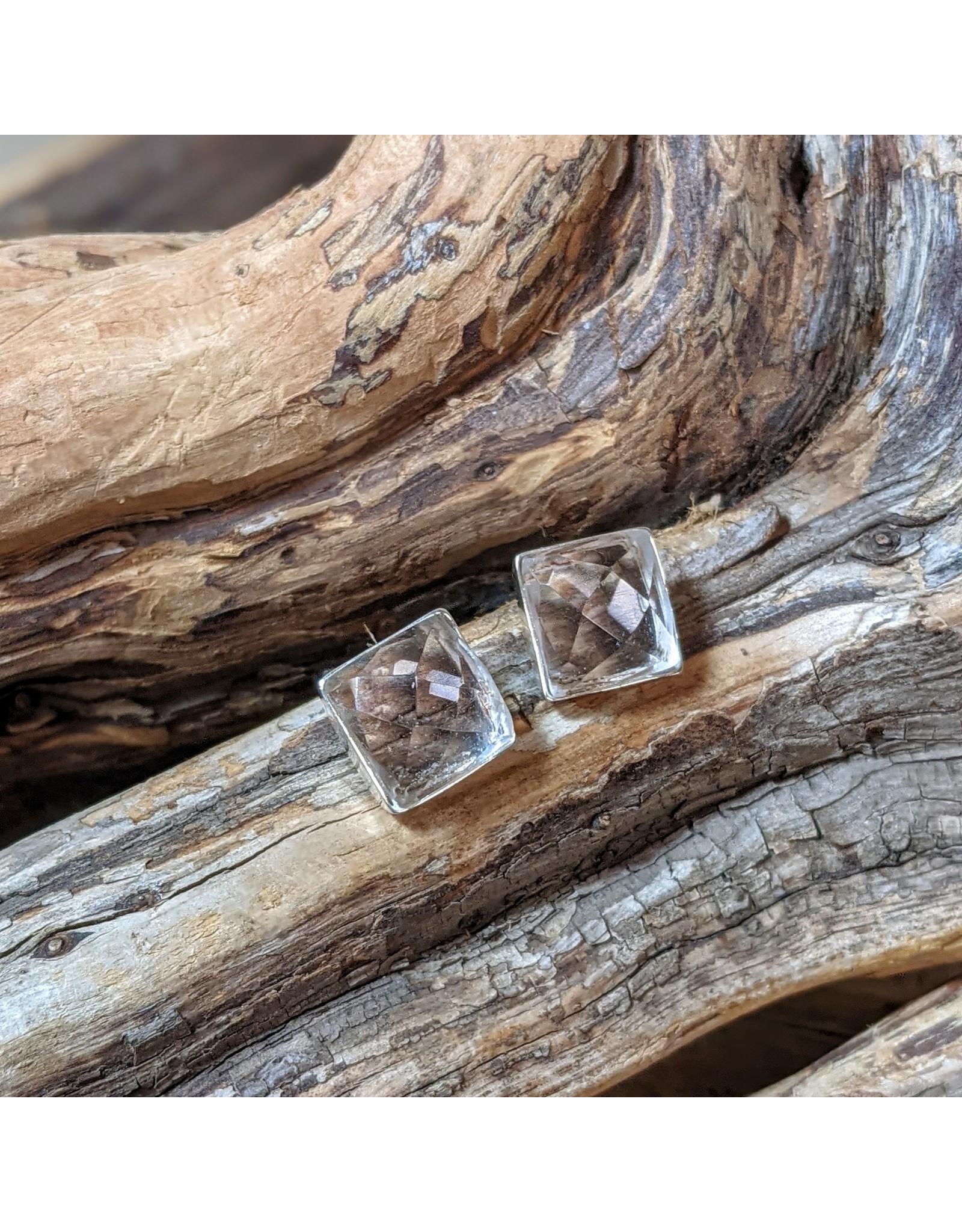 Ten Thousand Villages Crystal Quartz Studs, Peru