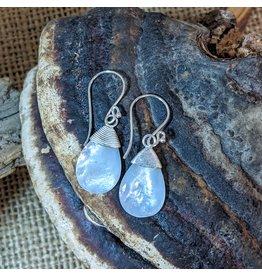 Ten Thousand Villages Mother of Pearl Teardrop Earrings w/ Sterling silver