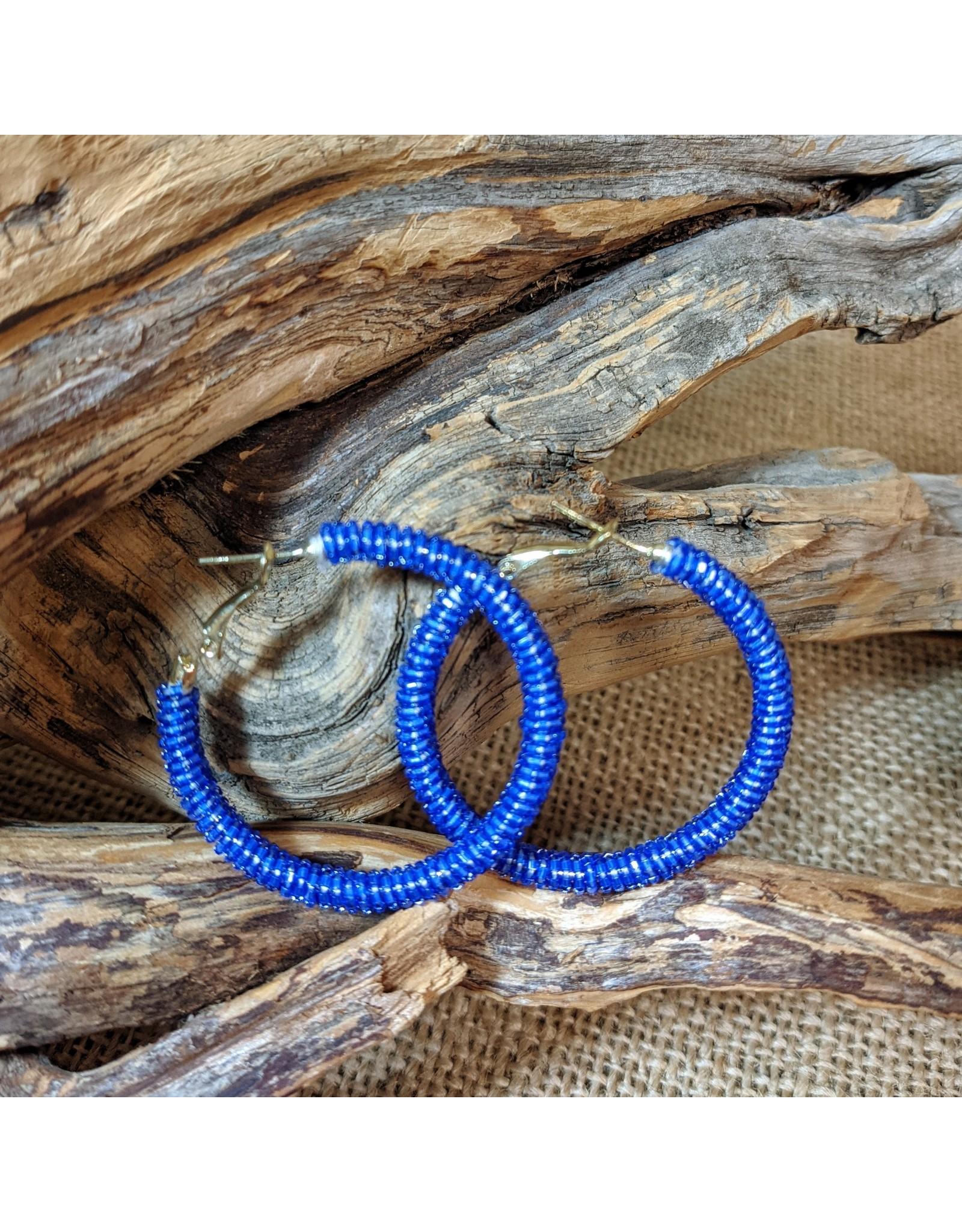 Ten Thousand Villages Blue Glass Bead Hoop Earrings, India