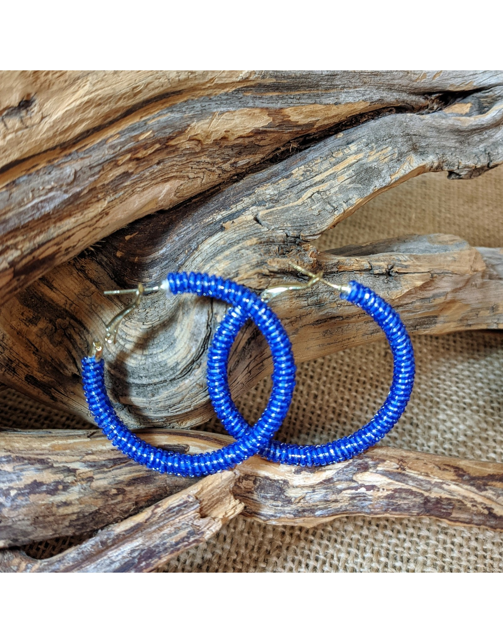 Ten Thousand Villages CLEARANCE Blue Glass Bead Hoop Earrings, India