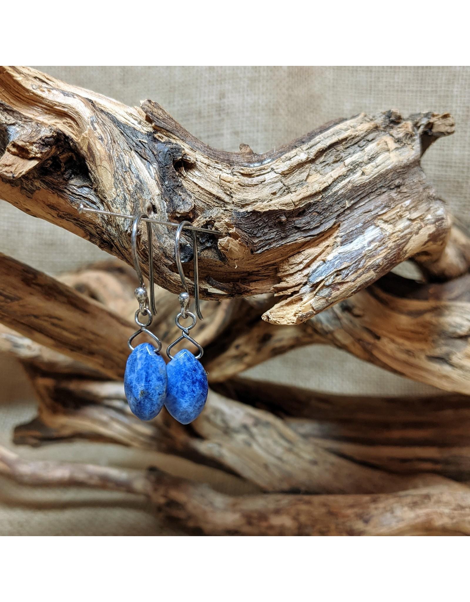 Ten Thousand Villages Sodalite & Silver Oval Drop Earrings