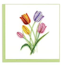 quillingcard Colourful Tulips Quilled Greeting Card, Vietnam