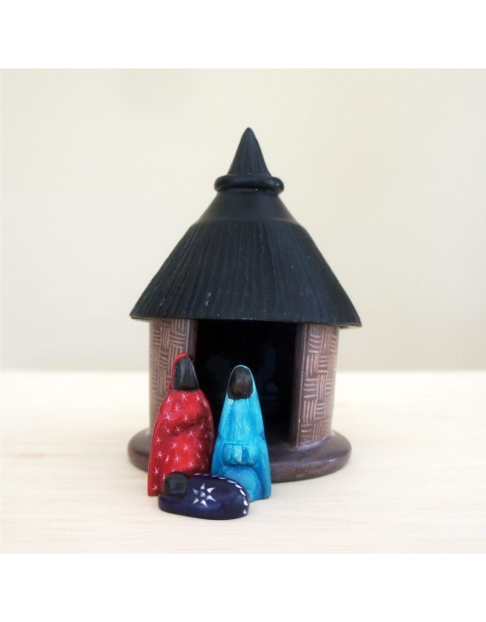 Venture Imports Colourful Kisii Stone Hut Nativity, 5pcs. Kenya.