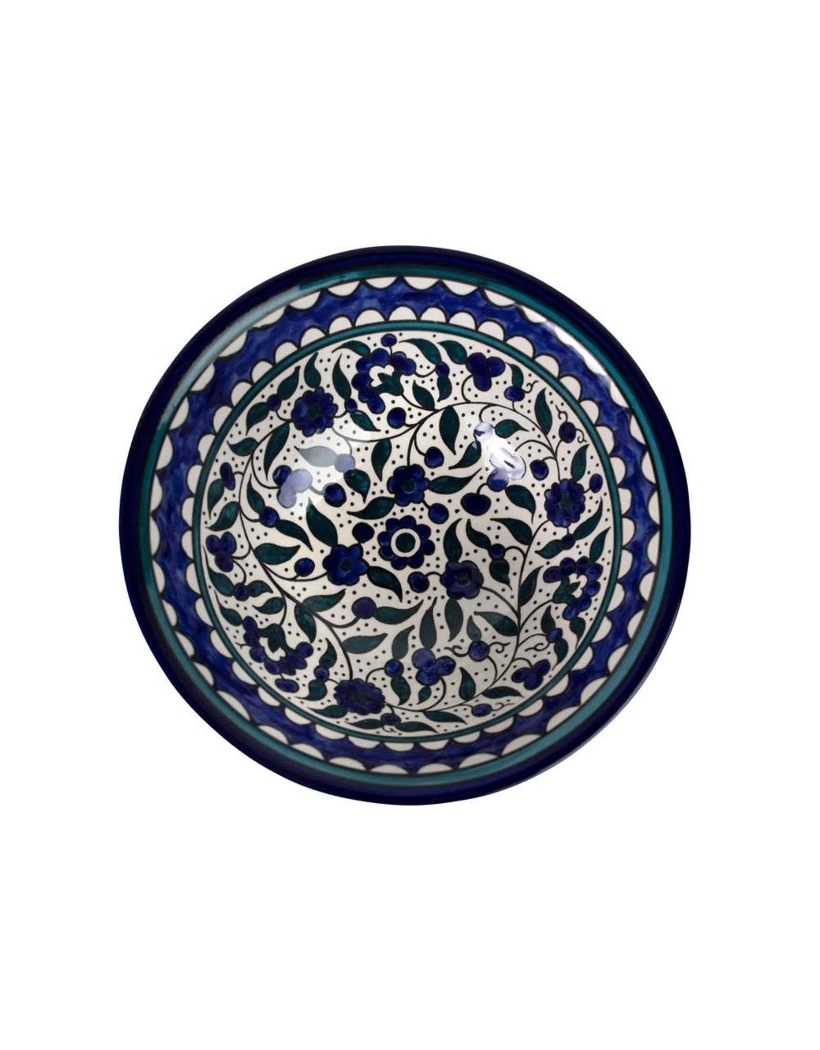 TTV USA Large Blue Floral Bowl, Palestine